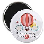 Ninth 9th Birthday Hot Air Balloon Magnet