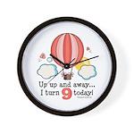 Ninth 9th Birthday Hot Air Balloon Wall Clock