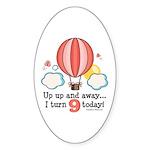 Ninth 9th Birthday Hot Air Balloon Oval Sticker