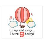 Ninth 9th Birthday Hot Air Balloon Small Poster