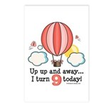 Ninth 9th Birthday Hot Air Balloon Postcards (Pack