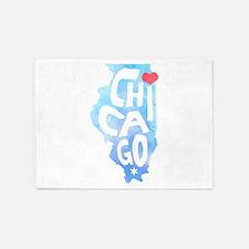 I Heart Chicago Illinois Watercolor 5'x7'Area Rug