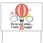 Second 2nd Birthday Hot Air Balloon Yard Sign