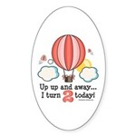 Second 2nd Birthday Hot Air Balloon Oval Sticker