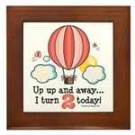 Second 2nd Birthday Hot Air Balloon Framed Tile