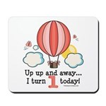 First 1st Birthday Hot Air Balloon Mousepad