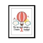 First 1st Birthday Hot Air Balloon Framed Panel Pr