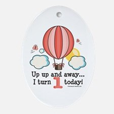 First 1st Birthday Hot Air Balloon Oval Ornament