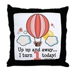First 1st Birthday Hot Air Balloon Throw Pillow
