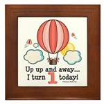 First 1st Birthday Hot Air Balloon Framed Tile