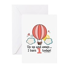 First 1st Birthday Hot Air Balloon Greeting Cards