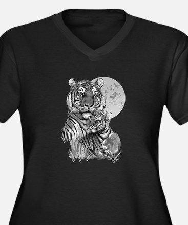 Tiger and Cu Women's Plus Size V-Neck Dark T-Shirt