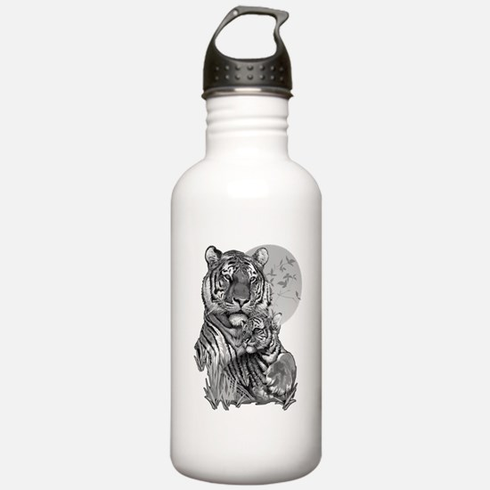 Tiger and Cub (B/W) Water Bottle