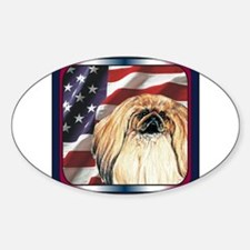 Pekingese Dog Patriotic USA Flag Oval Decal