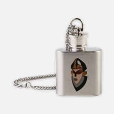 3D Western African Warrior Mask Flask Necklace