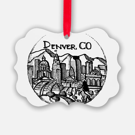Denver Downtown City Landmarks Bl Ornament