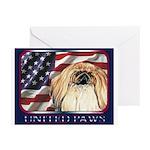 Pekingese Dog Patriotic USA Flag Greeting Cards(6)