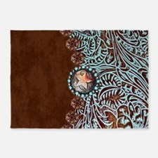 Western turquoise tooled leather 5'x7'Area Rug
