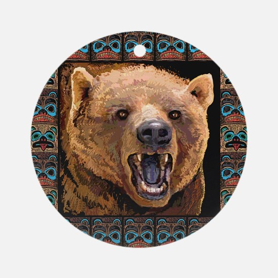 GRIZZLY BEAR Round Ornament