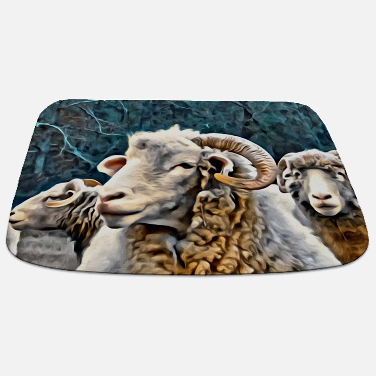 Ewephoric Horned Ewe Teal Colors Bathmat