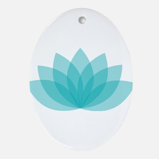 Blue Lotus Oval Ornament