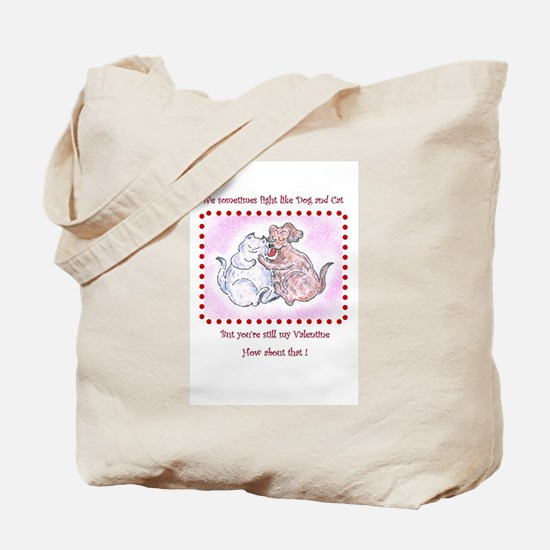 Dog and Cat, Funny Valentine Tote Bag
