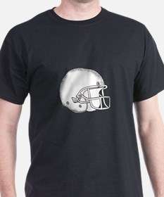 American Football Helmet Black and White Drawing T