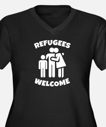 Refugees Welcome Women's Plus Size V-Neck Dark T-S
