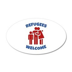 Refugees Welcome 22x14 Oval Wall Peel