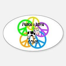 Peace Love Cows Sticker (Oval)