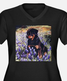 Rottweiler Pup in Flowers.jpg Plus Size T-Shirt