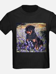Rottweiler Pup in Flowers.jpg T-Shirt