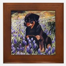 Rottweiler Pup In Flowers.jpg Framed Tile
