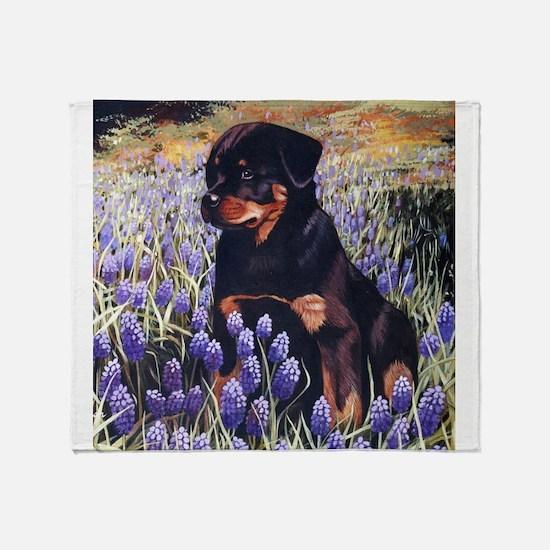 Rottweiler Pup In Flowers.jpg Throw Blanket