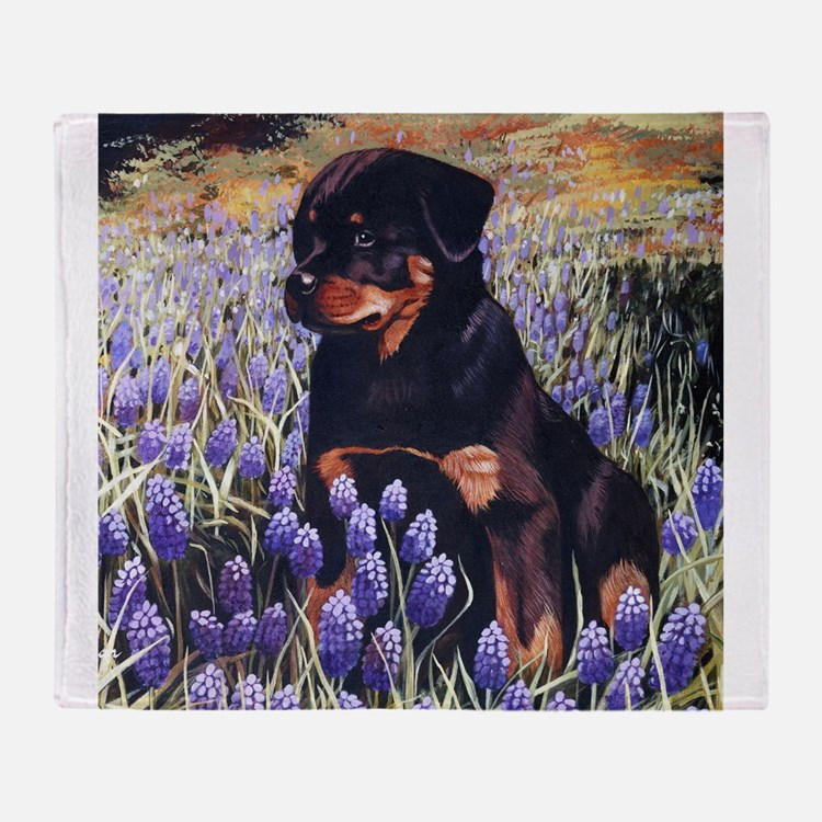 Rottweiler Pup In Flowers.jpg Throw Blanket