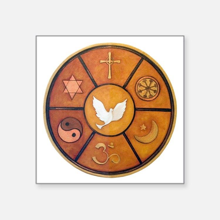 "Interfaith Symbol - Square Sticker 3"" x 3"""