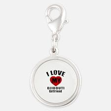I Love My Djibouti Girlfriend Silver Round Charm