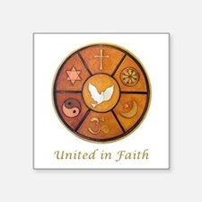 "Interfaith, United In Faith Square Sticker 3"" x 3"""