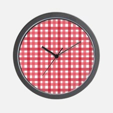 Red Picnic Cloth Pattern Wall Clock