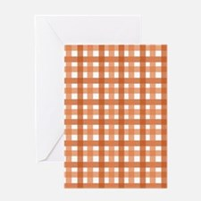 Orange Picnic Cloth Pattern Greeting Card