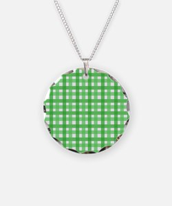 Green Picnic Cloth Pattern Necklace