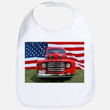 1948 Red Ford Truck USA Flag Baby Bib