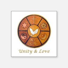 "Interfaith, Unity & Love - Square Sticker 3"" x 3"""
