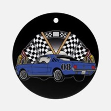 Checkered Flag Race Car Ornament (Round)