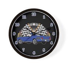 Checkered Flag Race Car Wall Clock