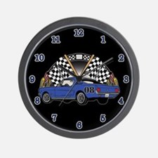 Checkered Flag Race Car Wall Clock