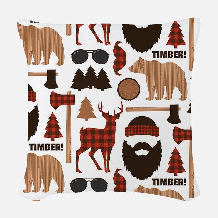Lumberjack Design Woven Throw Pillow