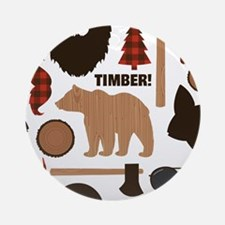 Lumberjack Design Round Ornament