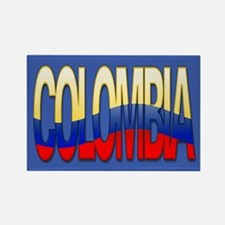 """Colombia Bubble Letters"" Rectangle Magnet"