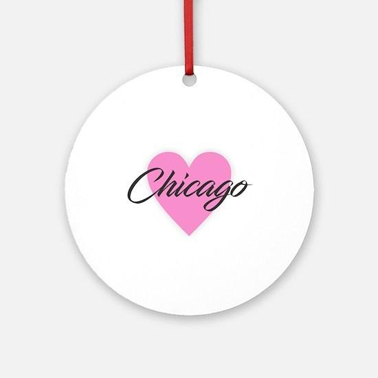 I Heart Chicago Round Ornament